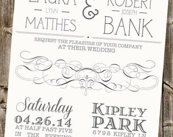 Ivory Wedding Invitation with Swirls & Heart (Typography)