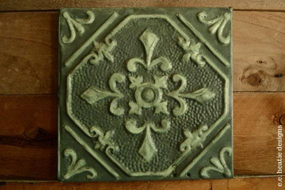 Vintage Tin Ceiling Tile Wall Art Pressed Tin By Erinheaton