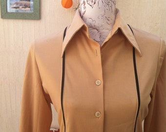 vintage ochre shirt - 70s ochre shirt - 70s vintage shirt - vintage brown shirt - 70s party-vintage long sleeve shirt