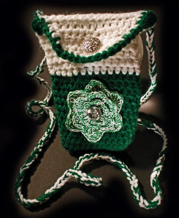 Crochet Cell Phone Purse : Crochet Purse, Handmade, Cell Phone Pouch, The Green Rose, Pattis ...