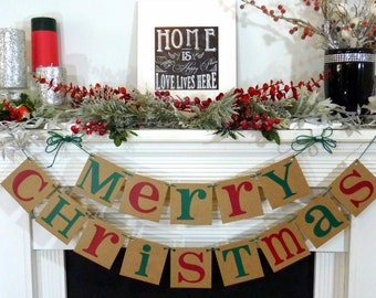 Christmas Banner - Merry Christmas Sign - Merry Christmas Banner - Photo Prop - Holiday Decor - Christmas Decor - Red & Green Family Photos