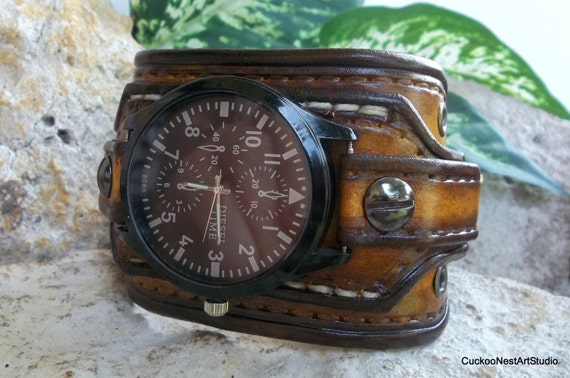 mens leather watch cuff tobacco brown leather wrist watch mens leather watch cuff tobacco brown leather wrist watch men s leather cuff watch