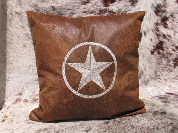 Decorative Pillow Embroidered with Texas Star in Rope Circle