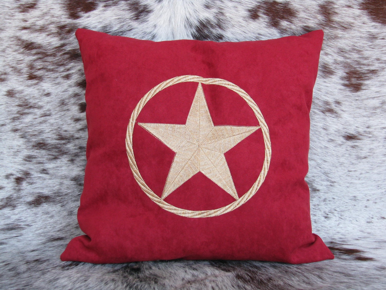 Personalized Embroidered Throw Pillows : Western Decor Star Pillow Custom Embroidered Pillow