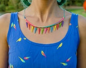 Multi Color Spikes on Multi Color Cord Necklace - Artanabra