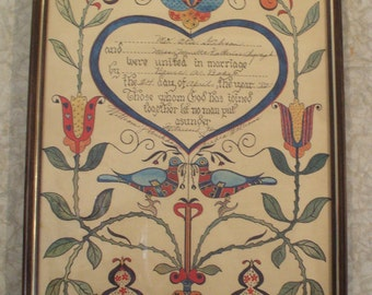 Great Americana Fraktur - Hand Colored, Printed and Framed - 1980's