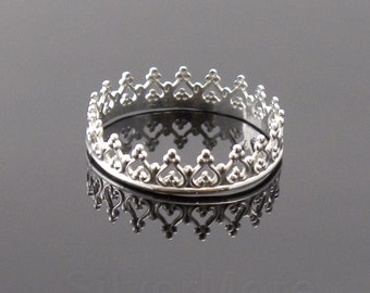 Argentium Silver Crown ring, Princess, Queen, Tiara stacking ring, Bridesmaid gift