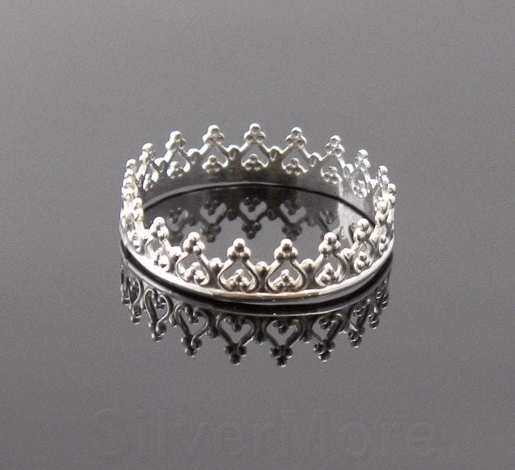 argentium silver crown ring princess tiara stacking