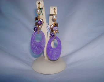 Earrings with purple agate, fresh water pearls, smoky quartz and silver 925 woman