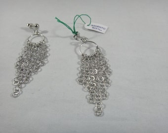Earrings with  shiny chains handmade, 925 silver woman