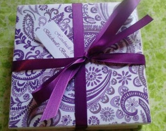 Set of 4 decoupage tile coasters. Purple and white paisley.