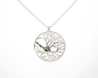 Neuron necklace, biology pendant, silver science necklace