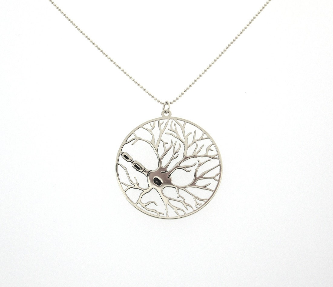 neuron necklace circle pendant sterling silver necklace