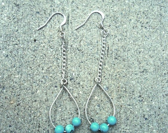 Earrings - Silver and Turquoise Teardrop Earrings