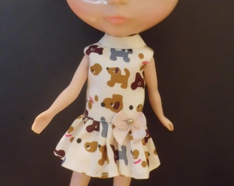 Blythe outfit Cute Dog Print  Dress
