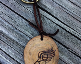 Track Foot Wood Burned Keychain