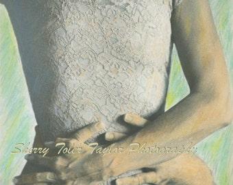 """Fine Art Photography -""""The Lace Dress""""Figure Photography,Fashion Photography,Embrace,Hugging,Hands,Romantic,Vintage Dress,9x12,11x14"""
