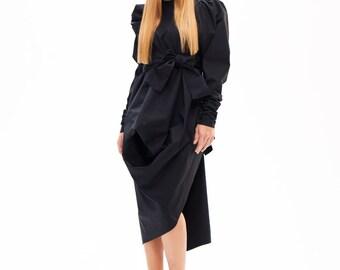 Long Black Jacket, Black Trench Coat, Black Winter Coat,Cotton Coat,Asymmetrical Coat,Women's Winter Coat,Designer Coat, Asymmetrical Jacket