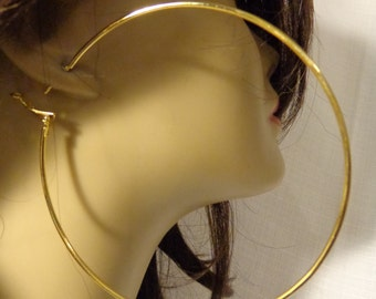 LARGE 3.5 inch Hoop Earrings GOLD tone Classic Thin Hoop Earrings