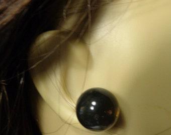 VINTAGE Lucite transparent Round Ball Earrings Pierced Black Color