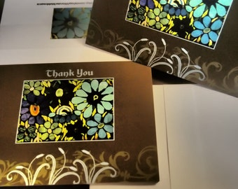 25% SALE  Thank You Card Set - Garden of Agate Flowers (Blank Inside)