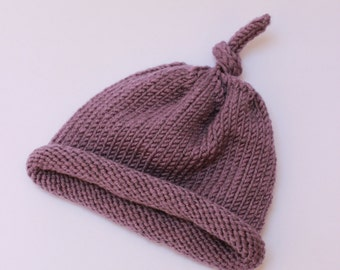 Hand Knit newborn baby hat in purple