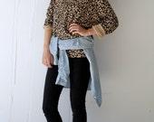 Vintage Long Sleeve Leopard Print Cotton Top