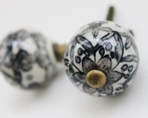 Ebony Black Hand Painted Knobs-Ceramic Knob-Drawer Pulls- Kitchen Pulls-Armoire Hardware- Cabinet Pull