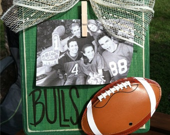 University of South Florida Football Picture Frame-Rustic-Green and Gold-USF Frame