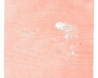 "Original Woodcut print ''Pink"" Portrait of a girl in Pink"