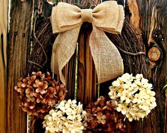 Chocolate and Cream Hydrangea Wreath, Fall Wreath, Door Wreath, Rustic Wreath, Burlap Bow Wreath, fall wreaths
