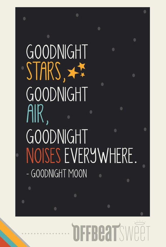 Items Similar To Goodnight Moon Nursery Art Typography
