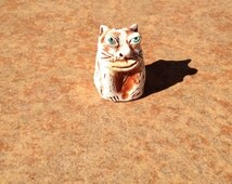 blue eyed ceramic clay cat whistle - Vladimir
