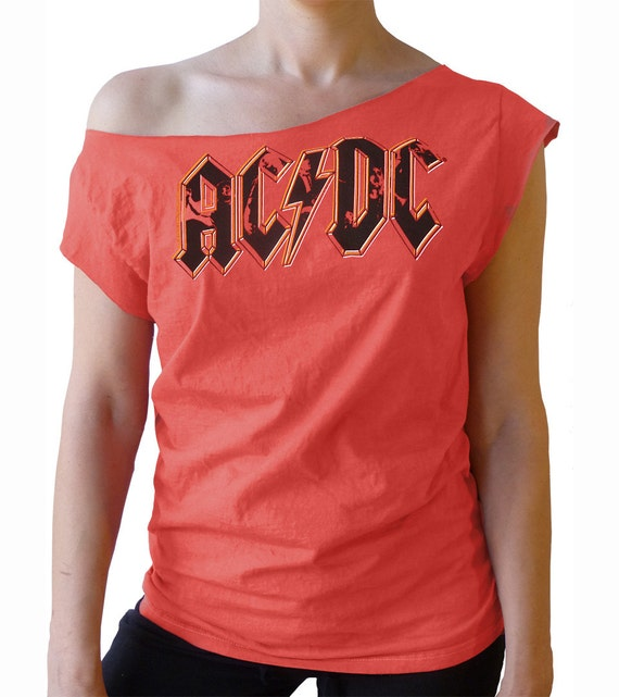 Ac dc logo women 39 s off shoulder raw edge t shirt by for Raw edge t shirt women s