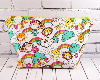 Kawaii Makeup Bag, Rainbow Zipper Pouch, Kawaii, Toiletry Bag, Cosmetic Bag, School Supplies,