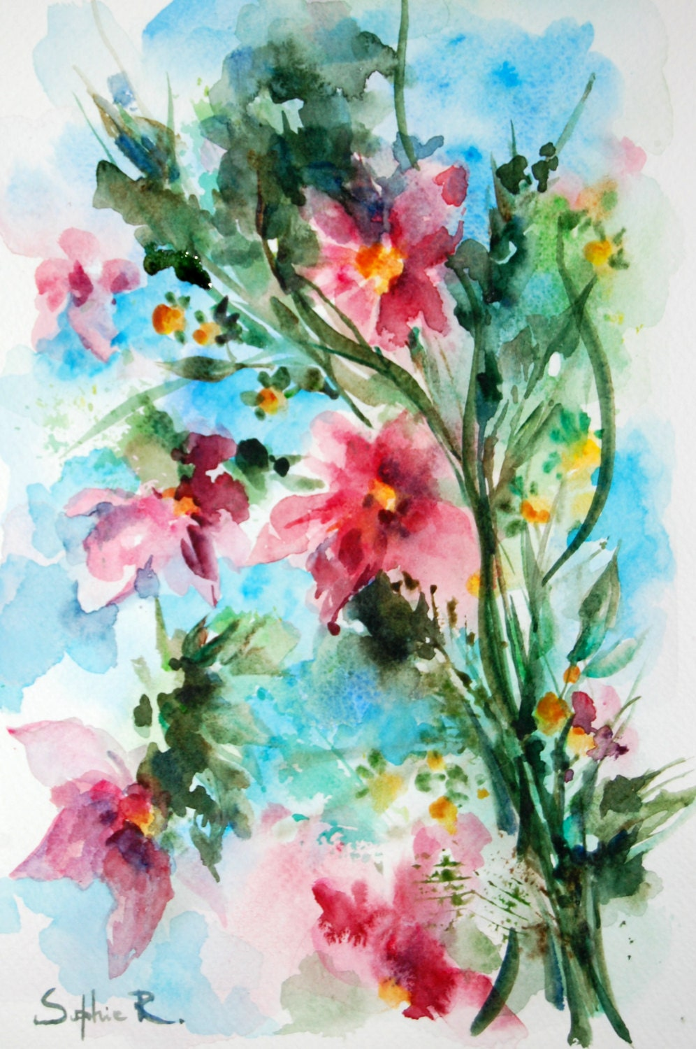 Pink notes of spring original watercolour painting abstract for Spring flowers watercolor