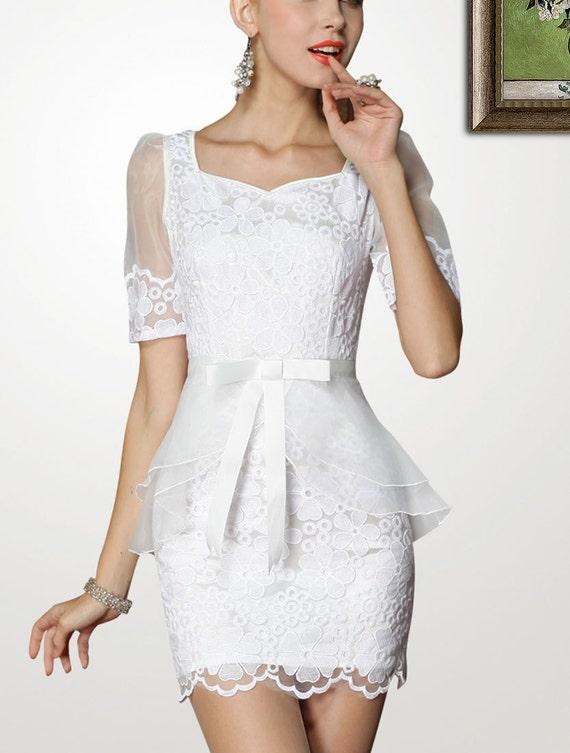 77ceec97684091 Dress Lace Peplum Dress Little White Dress Mini Dress 50 on Etsy