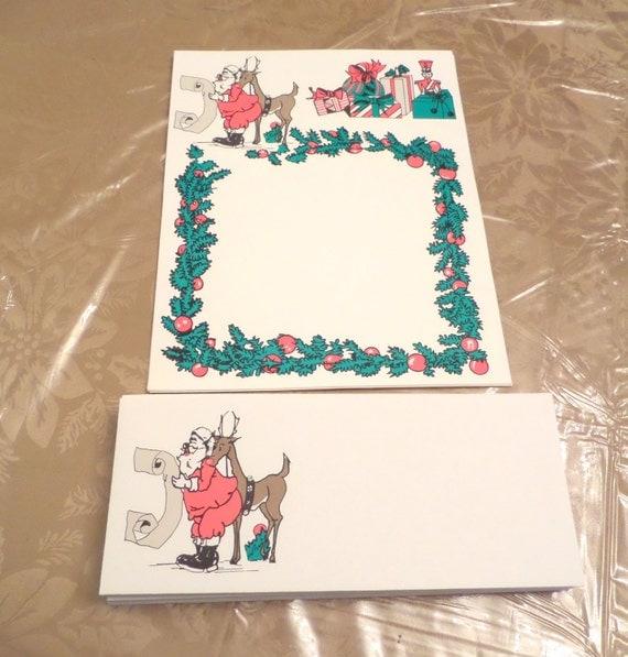 Vintage Christmas Decorations Mouse Carolers Set Jasco: Vintage Santa With Reindeer Stationary Set By