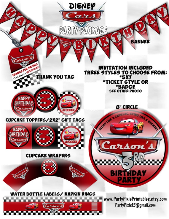 Disney Cars Lightning McQueen Party Package and Invitation