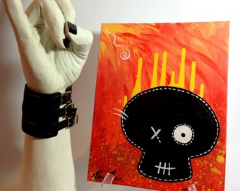 Acrylic painting Skull on canvas panel hanging wall décor