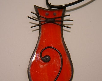 Cat Tiffany Style Stained Glass  Pendant