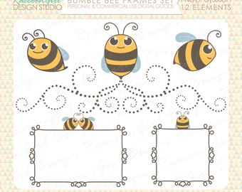 50% OFF Bumble Bee Clip Art and Digital Frames Set - Personal & Commercial Use