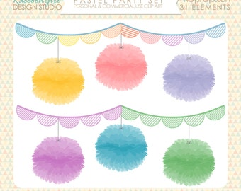 50% OFF Pastel Party Clip Art Set - Personal & Commercial Use