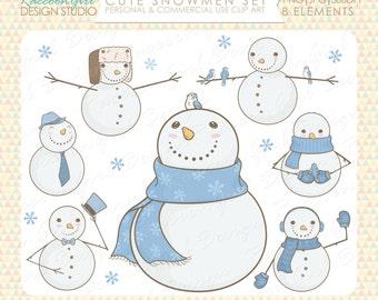50% OFF Cute Snowmen Clip Art Set - Personal & Commercial Use