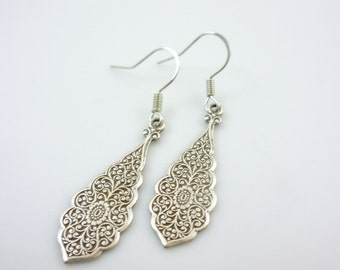 SteamPunk Neo-Victorian Earrings Embossed Detailed Scrollwork Oxidized Sterling Sliver Plated Brass