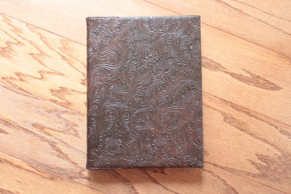 Handmade Leather Book Cover : Custom fitted faux leather book cover made using your