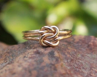 Love Knot Ring 14K Gold Filled Celtic Double Knot Bridesmaid Ring Friendship Ring