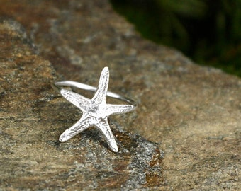 Starfish Stacking Ring Nautical Jewelry Beach Jewelry Silver Ring Starfish Ring