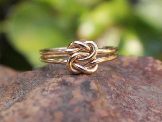 love knot ring 14k gold filled celtic double knot bridesmaid. Black Bedroom Furniture Sets. Home Design Ideas