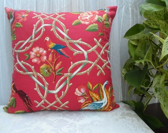 Beautiful 18x18 import designer fabric Pillow Case with Exotic Bird Print,same fabric front and back.